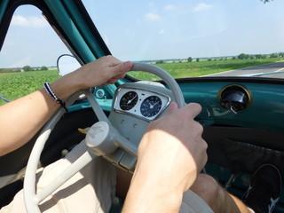 drive an old turquoise heinkel kabine