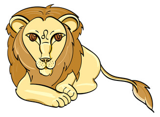 Leo - a golden lion laying down with the symbol of Leo on its forehead.