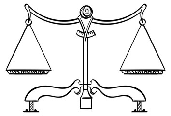 Libra - Balanced scales with the symbol for Libra on it. Outline