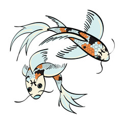 Pisces - two koi fish with the symbol for Pisces on their foreheads.