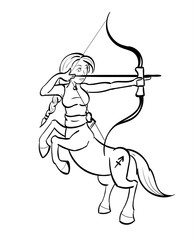 Sagittarius - Centaur aiming a bow and arrow with the symbol for Sagittarius on its hind quarter. Outline.