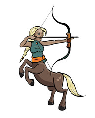 Sagittarius - Centaur aiming a bow and arrow with the symbol for Sagittarius on its hind quarter.