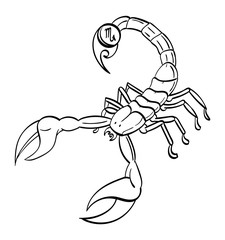 Scorpio - a scorpion with the symbol for Scorpio on its stinger. Outline.