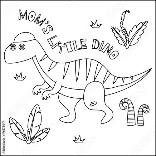 Cute Dinosaur coloring book series.\