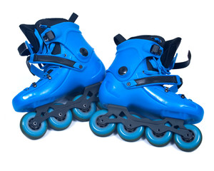 Blue roller skates isolated on white background