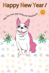 可愛い三匹の犬の親子のイラスト年賀状テンプレート