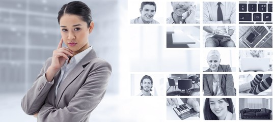 Composite image of portrait of a young businesswoman thinking