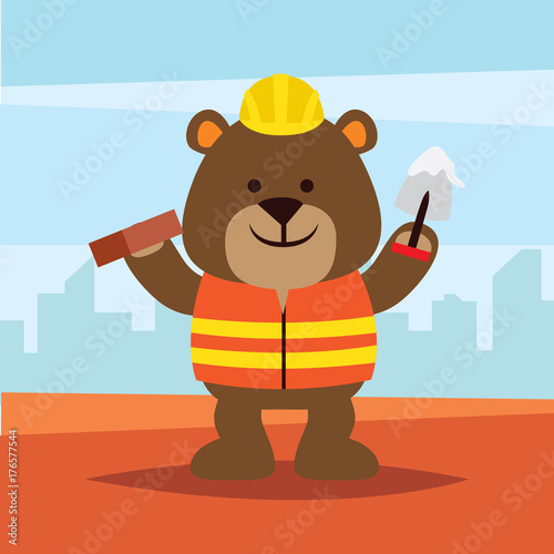 Cute and funny animal in construction worker uniform.