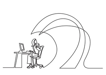 continuous line drawing of business concept - office worker under waves of work