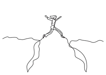 continuous line drawing of business concept - woman jumping over canyon
