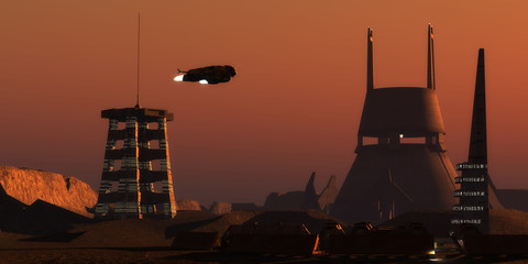 Martian Colonist Complex - Light glows from a colony complex on the planet Mars as a spaceship comes in for a landing from Earth.