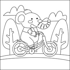 Cute animal cartoon coloring book for children series. Drawing and coloring practice for kid