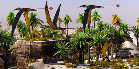 Rhamphorhynchus Jurassic Habitat - Rhamphorhynchus reptile birds take to the air from a rookery on a cliff top in the Jurassic Period.