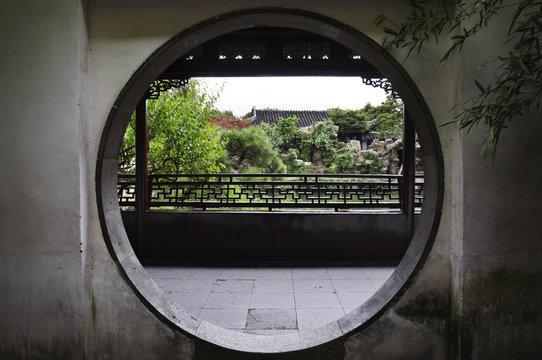 Round doorway at the Master of Nets Garden, Suzhou, China