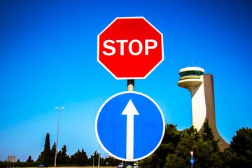 Stop sign on blue sky