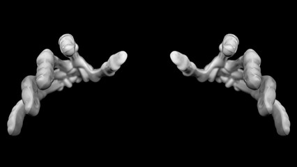 Closeup view of the front two skeleton hands reaching towards the viewer as if to touch or grab.