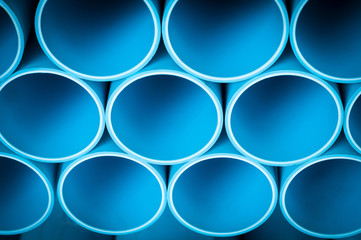 Close up to Blue PVC plastic pipes