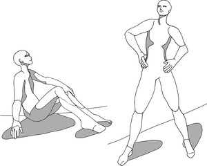 Figure drawing illustration, standing person sitting person, artist reference