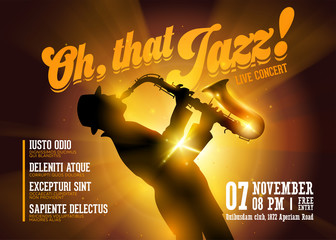 Vector Jazz Horizontal Poster. Silhouette of Saxophone Player against a Stage Gold Neon Light. Live Jazz Performance. Music Poster Template for Concert, Night Club, Festival, Flyer, Ticket.