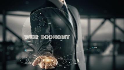 Web Economy with hologram businessman concept