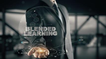Blended Learning with hologram businessman concept