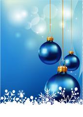 Christmas background, blue christmas balls