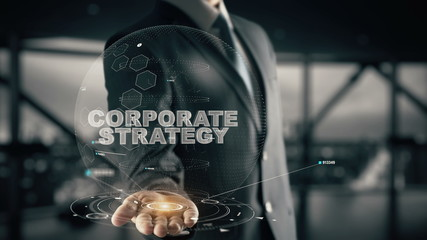 Corporate Strategy with hologram businessman concept
