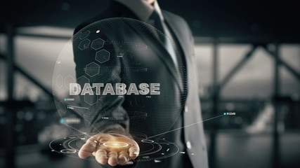 Database with hologram businessman concept Wall mural