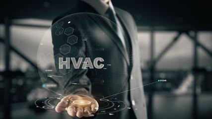HVAC with hologram businessman concept