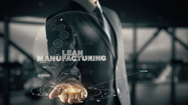 Lean Manufacturing with hologram businessman concept
