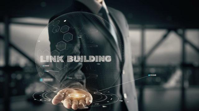 Link Building with hologram businessman concept