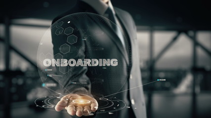 Onboarding with hologram businessman concept