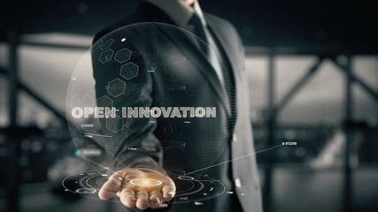 Open Innovation with hologram businessman concept