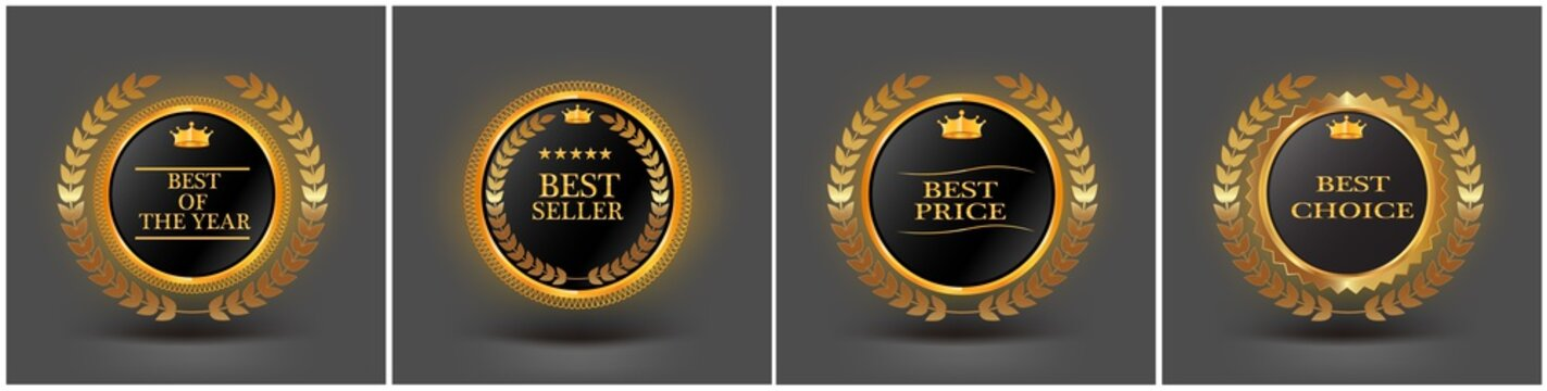 "vector vintage badges collection ""Best choice"", ""Premium quality"", ""Bestseller"", ""Best price"""