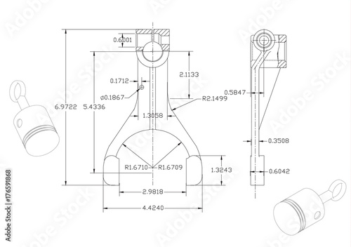 Machine Building Drawings On A White Background Stock Image And