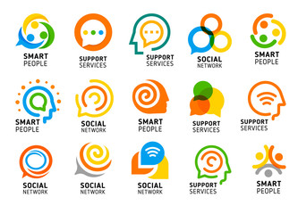 Social network for smart people with creative brain. Support services icon set. Colorful vector logo collection.