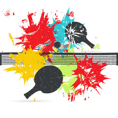 Ping-pong posters design. Grunge vector illustration