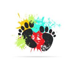 Footprint. Grunge vector illustration