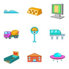 City public transport icons set, cartoon style