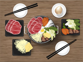 illustration vector of Japanese Sukiyaki with high-quality Japanese beef,egg, noodles and vegetables in traditional Hot Pot, sukiyaki graphic design concept