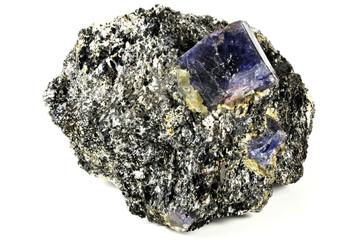 sapphire nestled in bedrock found in Zazafotsy Quarry, Fianarantsoa/ Madagascar