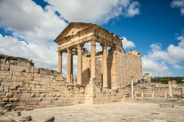 The Roman Capitol. Ruin. Tunisia, Dougga.