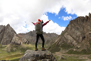 cheering successful woman hiker on mountain top