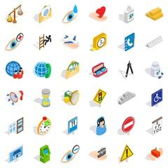 Help icons set, isometric style
