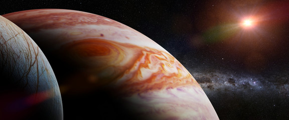 Jupiter's moon Europa, the planet Jupiter, the Milky Way and the Sun
