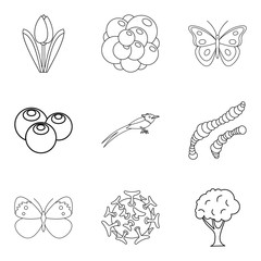 Food for animal icons set, outline style
