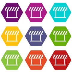 Traffic prohibition sign icon set color hexahedron