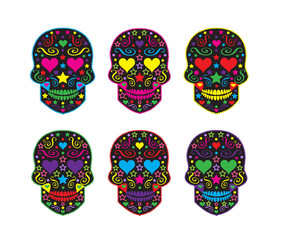 Skull collection with heart eyes for Halloween or Day of the dead