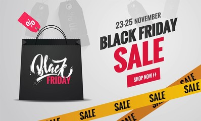 Black friday sale poster. Black Friday background with shopping bag and yellow caution tape. Vector illustration