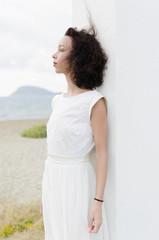Fashion portrait woman in white